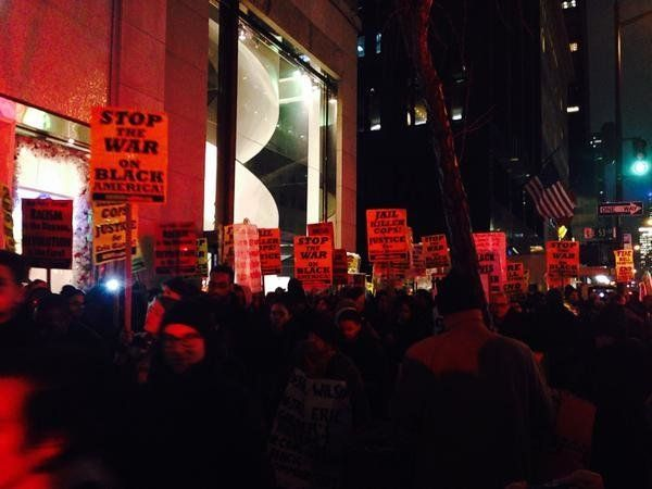 People in New York City protest police brutality on December 23, 2014.