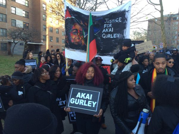 The family of Akai Gurley marches in Brooklyn on Dec. 27, 2014.