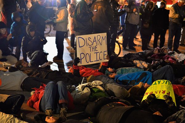 Demonstrators protested and staged a die-in in Copley Square during First Night Boston 2015 on December 31, 2014 in Boston, M