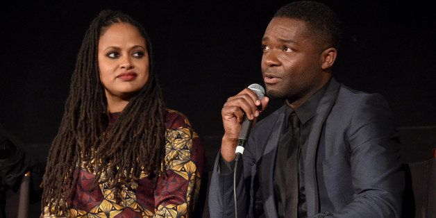 HOLLYWOOD, CA - NOVEMBER 11:  Director Ava DuVernay (L) and actor David Oyelowo attend the 'Selma' first look during the AFI