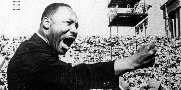 American Civil Rights and religious leader Dr Martin Luther King Jr (1929 - 1968) gestures emphatically during a speech at a