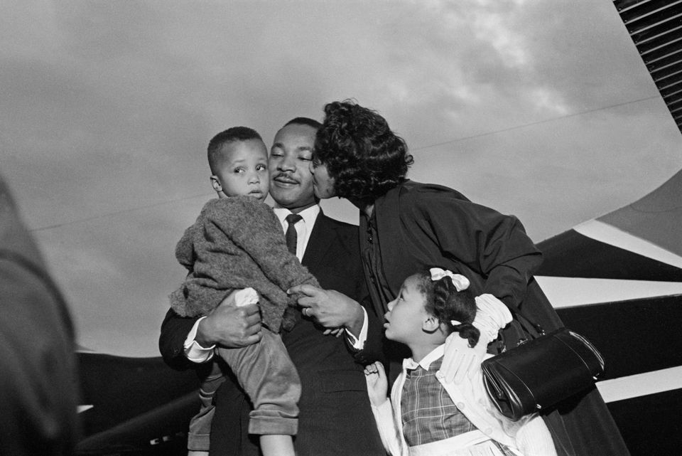 After Dr. Martin Luther King, Jr. is freed from jail under a $2000 appeal bond, he is greeted by his wife Coretta and childre