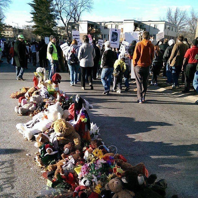 Michael Brown memorial in Ferguson, Missouri, pictured on MLK Day, January 19, 2015.