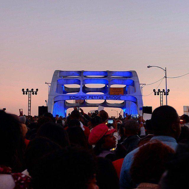 Reenacting the Selma to Montgomery march across the Edmund Pettus Bridge in Selma, Alabama, on Jan. 18, 2015.