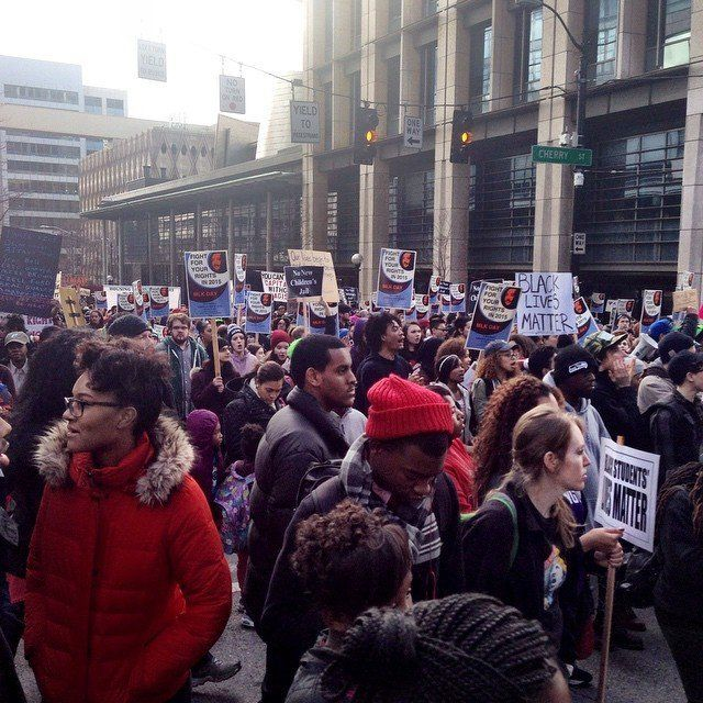 March to honor MLK and #BlackLivesMatter movement in Seattle on Jan. 19, 2015.