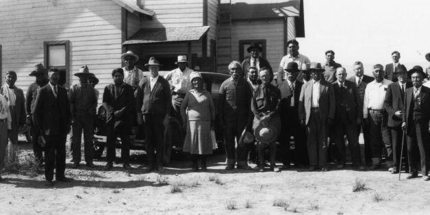 17th June 1930:  Native American Indians who attended a meeting with the Assistant Commissioner of Indian Affairs Mr Scatterg