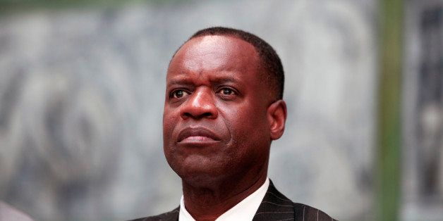 DETROIT, MI - JUNE 9:  Detroit Emergency Manager Kevyn Orr waits to speak at a press conference at the Detroit Institute of A