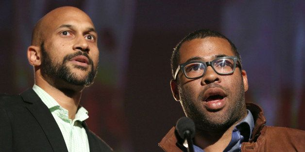 Keegan-Michael Key, left, and Jordan Peele present a College Television Award at the 35th College Television Awards, presente