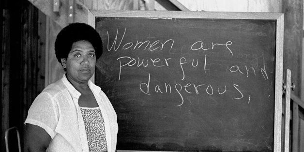 NEW SMYRNA BEACH, FL - 1983:  Caribbean-American writer, poet and activist Audre Lorde lectures students at the Atlantic Cent
