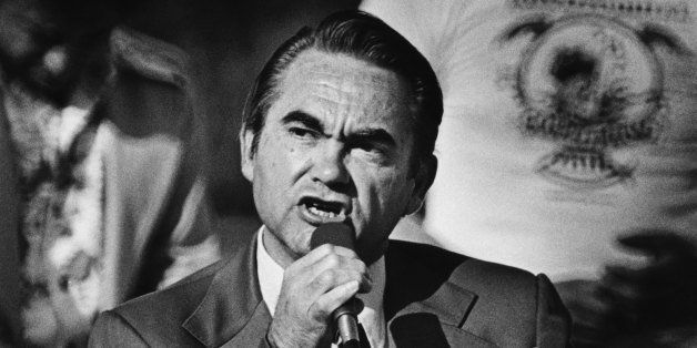 LOS ANGELES, CA - 1976:  American Independent Party presidential candidate and former Governor of Alabama, George Wallace, ad