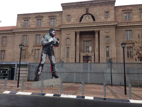 A 20-foot-tall statue of Mandela was built outside of the Chancellor House, a building that once housed Mandela and fellow ac