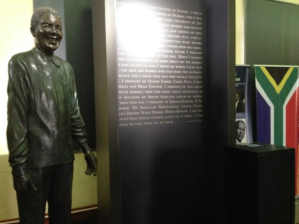 On April 27, 1994, four years after his release from prison, Mandela traveled to the Ohlange Institute in South Africa's Ulwa