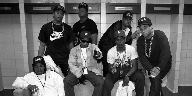KANSAS CITY - 1989:  Rappers N.W.A. (back) Dr. Dre, Laylaw from Above The Law, The D.O.C. (front) Ice Cube, Eazy-E., MC Ren a