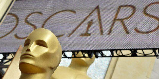 Oscars statues are seen at the red carpet outside the Dolby Theatre as preparations are underway for the 87th annual Academy