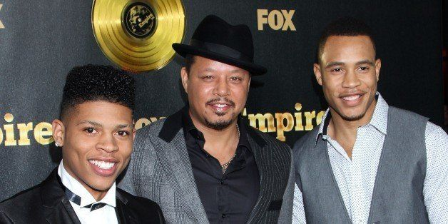 "Actors Bryshere Gray, Terrence Howard and Trai Byers seen at LA Premiere Of ""Empire"" at Arclight Cinema Dome on Tuesday, Janu"