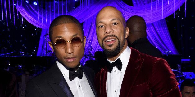 LOS ANGELES, CA - FEBRUARY 07: Recording artists Pharrell Williams (L) and Common attend the Pre-GRAMMY Gala and Salute To In