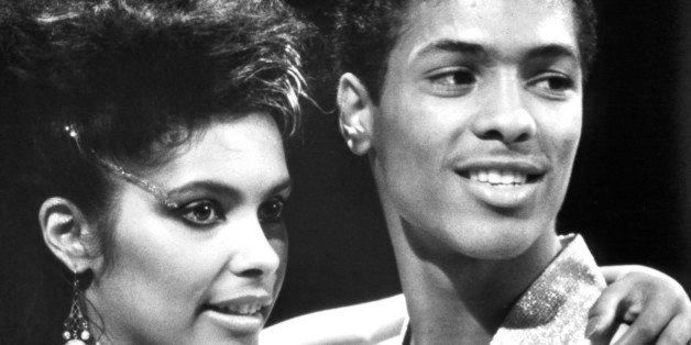 Vanity gives Taimak a hug in a scene from the film 'The Last Dragon', 1985. (Photo by TriStar/Getty Images)