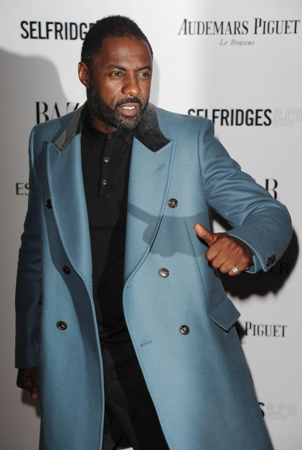 LONDON, ENGLAND - NOVEMBER 05: Idris Elba arrives for the Harpers Bazaar Women Of The Year Awards at Claridges Hotel on Novem