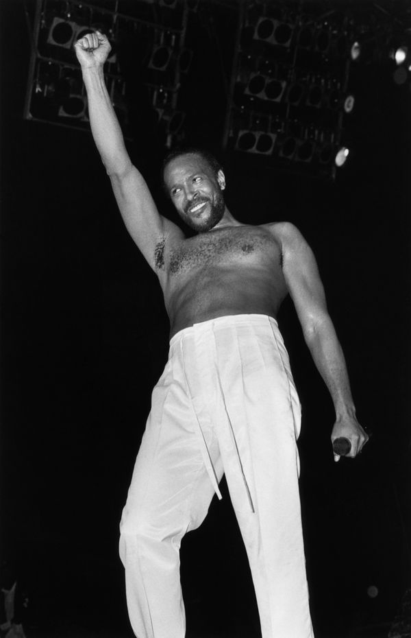 RADIO CITY MUSIC HALL  Photo of Marvin GAYE, Marvin Gaye performing on stage, barechested  (Photo by Ebet Roberts/Redferns)