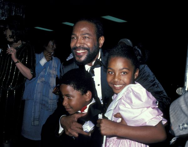 Marvin Gaye and children Frankie and Nona (Photo by Betty Galella/WireImage) *** Local Caption ***
