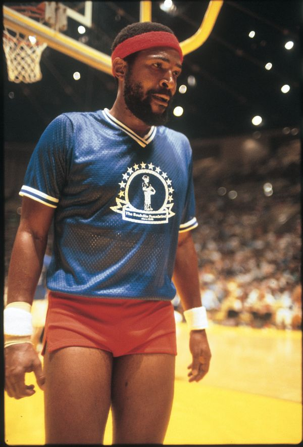 Soul singer Marvin Gaye plays in a celebrity basketball game at The Forum for The Soulville Foundation in August, 1977 in Ing