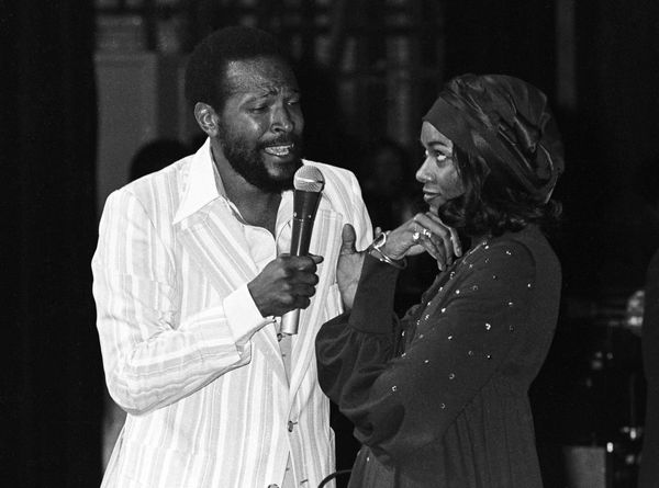 RADIO CITY MUSIC HALL  Photo of Marvin GAYE, Marvin Gaye performing on stage, singing to a woman  (Photo by Richard E. Aaron/
