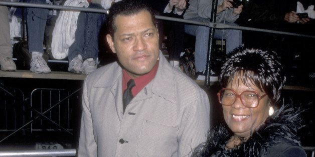 Actor Laurence Fishburne and mother Hattie Fishburne attend the Westwood Premiere of 'The World Is Not Enough' on November 8,