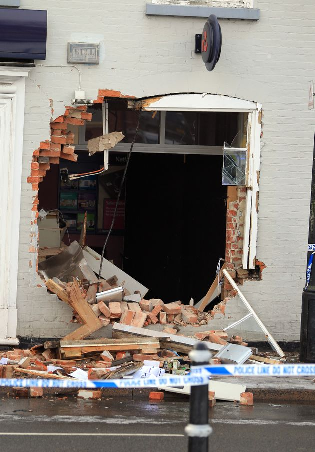 A NatWest bank in Bingham, Nottinghamshire, where thieves used a tractor to pull the bank's ATM machine from the wall.