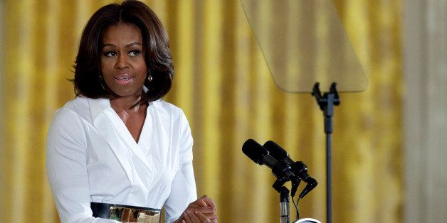 "First lady Michelle Obama speaks at the White House in Washington, Friday, Feb. 20, 2015, during the ""Celebrating Women of"