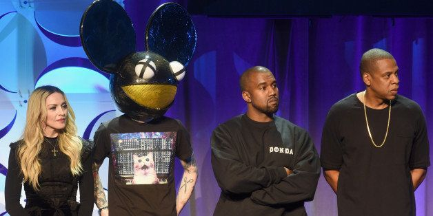 NEW YORK, NY - MARCH 30:  (L-R) Madonna, Deadmau5, Kanye West, and JAY Z onstage at the Tidal launch event #TIDALforALL at Sk
