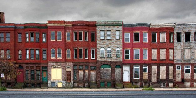 Group of vacant houses in Baltimore, Maryland. Poverty, urban decay, blight, crime, renewal.