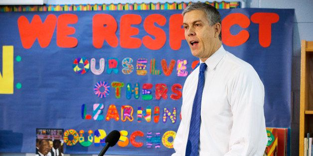 Education Secretary Arne Duncan speaks about the administration's priorities for education at Seaton Elementary in Washington