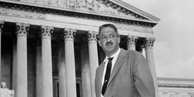 FILE - This Aug. 22, 1958 file photo shows Thurgood Marshall outside the Supreme Court in Washington. Saturday marks the 60th