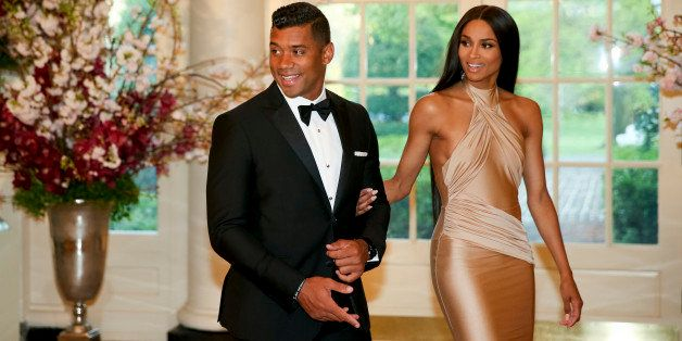 Seattle Seahawks Quarterback Russell Wilson and entertainer Ciara Harris arrive for a state dinner for Japanese Prime Ministe