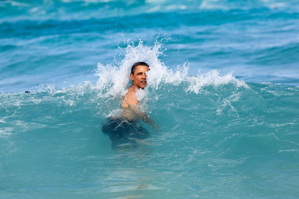"""""""A nice way to celebrate the New Year for the President was to jump in the ocean in his native state of Hawaii. He was on his"""