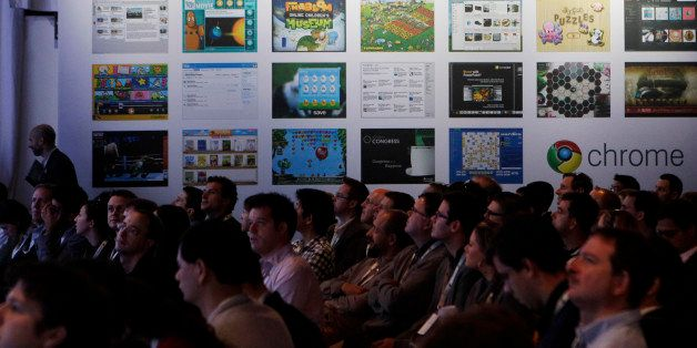 An audience listens to a presentation of the new Google Chrome operating system in San Francisco,  Tuesday, Dec. 7, 2010.(AP