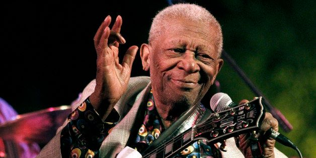 FILE-In this Aug. 22, 2012 photograph, the  then 86-year-old B.B. King thrills a crowd of several hundred people at the annua