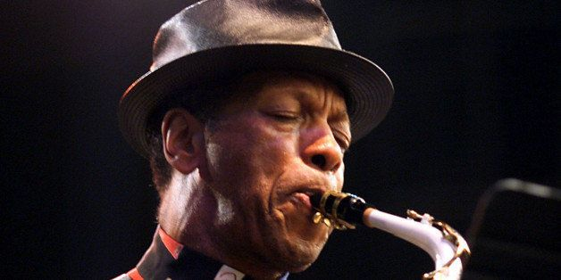 Ornette Coleman performs at the Bell Atlantic Jazz Festival in Battery Park on lower Manhattan, New York.  Photo;Scott Gries/