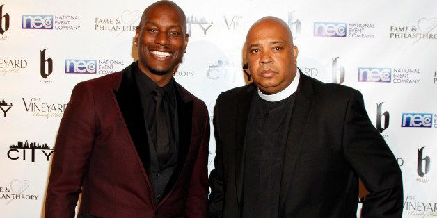 Tyrese Gibson and Joseph Simmons aka Rev Run seen at Fame and Philanthropy's Celebrates the 86th Academy Awards on Sunday, Ma
