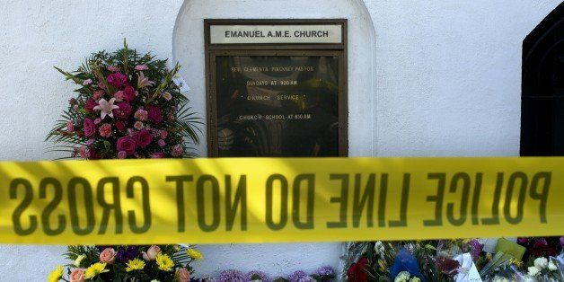 The name of Reverend Clementa Pinckney, one of the shooting victims, is seen outside the Emanuel AME Church in Charleston, So