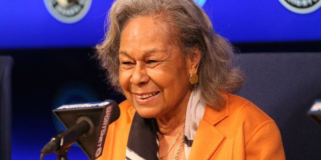 LOS ANGELES, CA - APRIL 15:  Rachel Robinson, widow of Jackie Robinson, speaks at a press conference before the Jackie Robins