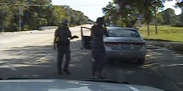 In this July 10, 2015, frame from dashcam video provided by the Texas Department of Public Safety, trooper Brian Encinia arre