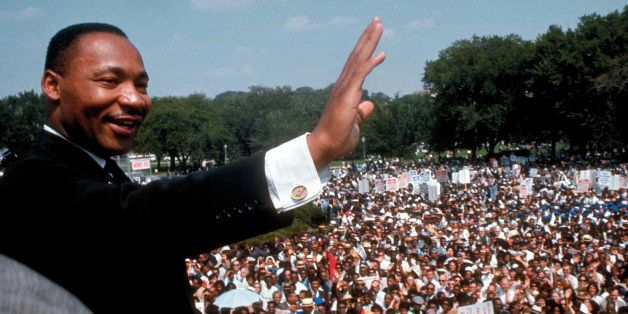 Dr. Martin Luther King Jr. giving his I Have a Dream speech to huge crowd gathered for the Mall in Washington DC during the M