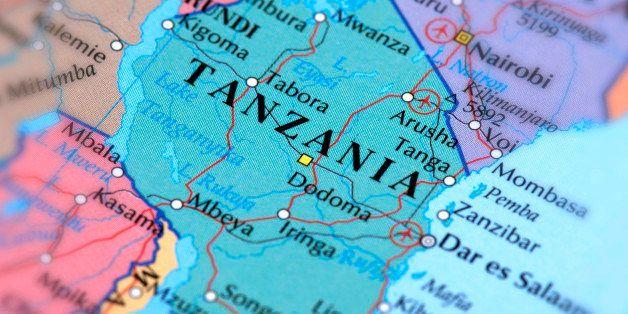 Map of Tanzania. Selective Focus.