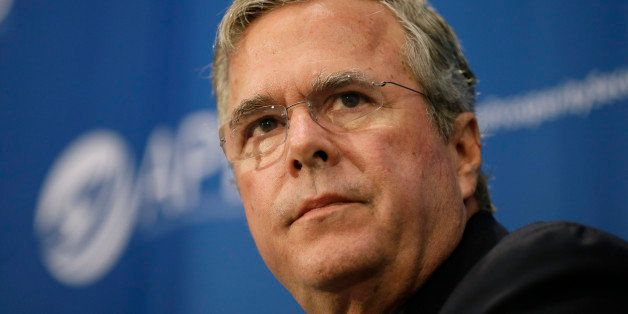 Republican presidential candidate former Florida Gov. Jeb Bush speaks during a forum sponsored by Americans for Peace, Prospe