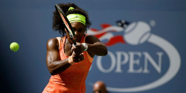 Serena Williams returns a shot to Roberta Vinci, of Italy, during a semifinal match at the U.S. Open tennis tournament, Frida