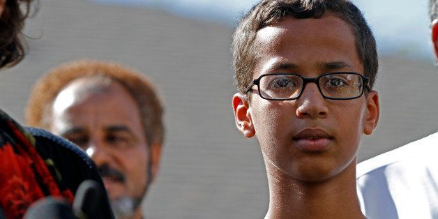 IRVING, TX - SEPTEMBER 16: 14-year-old Ahmed Ahmed Mohamed speaks during a news conference on September 16, 2015 in Irving, T