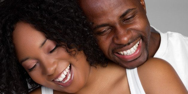 laughing black couple