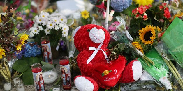 CHARLESTON, SC - JUNE 19:  A teddy bear is seen in the memorial setup in front of Emanuel African Methodist Episcopal Church