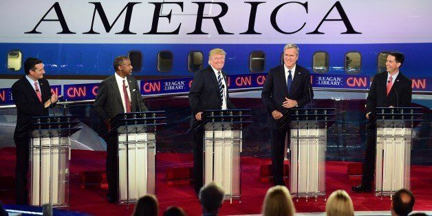 Republican presidential hopefuls Ted Cruz, Ben Carson, Donald Trump, Jeb Bush, and Scott Walker participate in the Republican